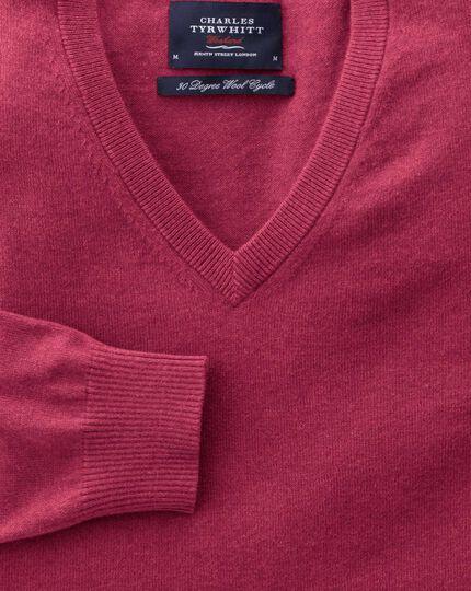 Coral cotton cashmere v-neck jumper
