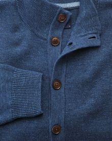 Blue heather button through cardigan