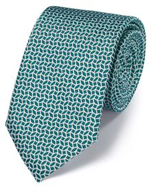 Green and white silk geometric classic tie