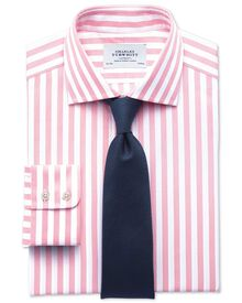 Slim fit semi-spread collar Egyptian cotton stripe pink shirt