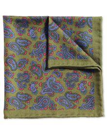Klassisches Einstecktuch aus Wolle in olivgrün und Blau mit Paisley Muster