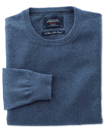 Blue cotton cashmere crew neck sweater
