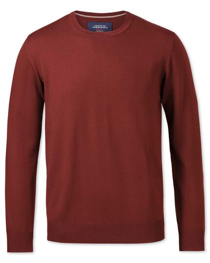 Copper merino wool crew neck jumper