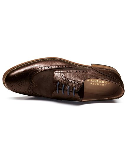 Brown Mornington wingtip brogue Derby co-respondent shoes
