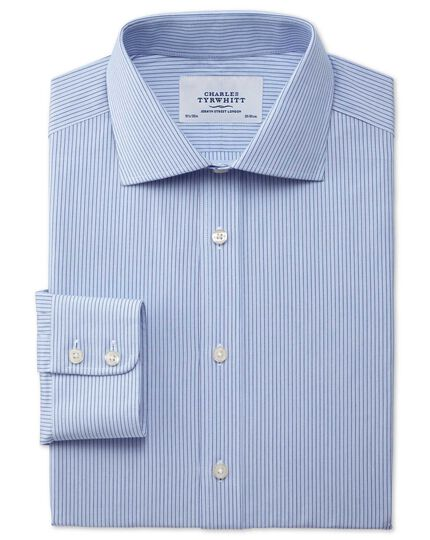 Slim fit semi-spread collar stretch stripe blue shirt