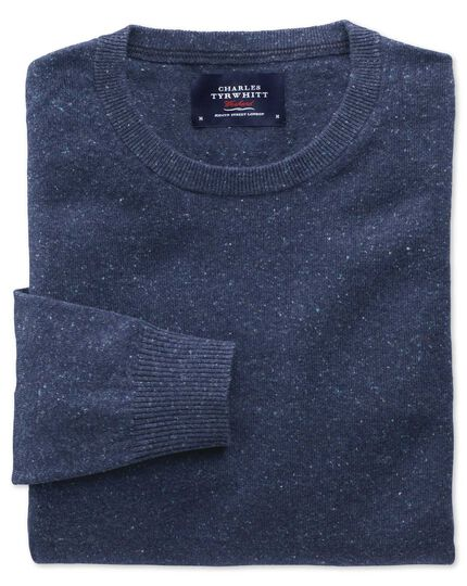 Indigo cotton cashmere crew neck sweater