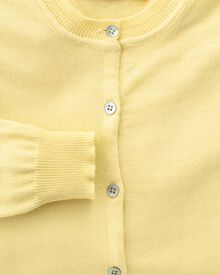 Women's light yellow cotton cashmere cardigan