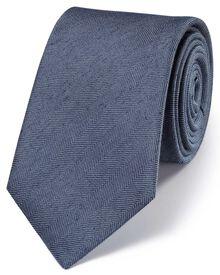 Navy classic herringbone plain tie