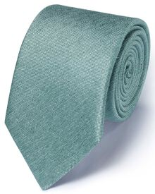 Light green silk mix classic plain tie