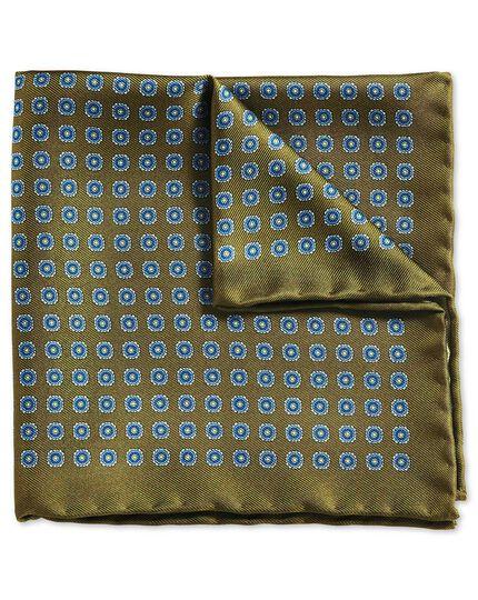 Pochette de costume classique olive et bleue avec imprimé médaillon