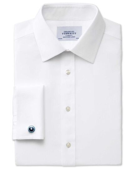 Slim fit non-iron micro spot white shirt