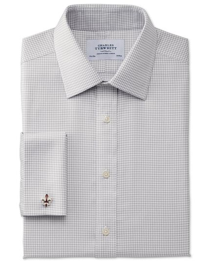 Classic fit non-iron houndstooth grey shirt