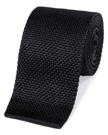 Black silk slim silk knitted classic tie