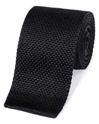 Black silk slim silk knitted classic tie