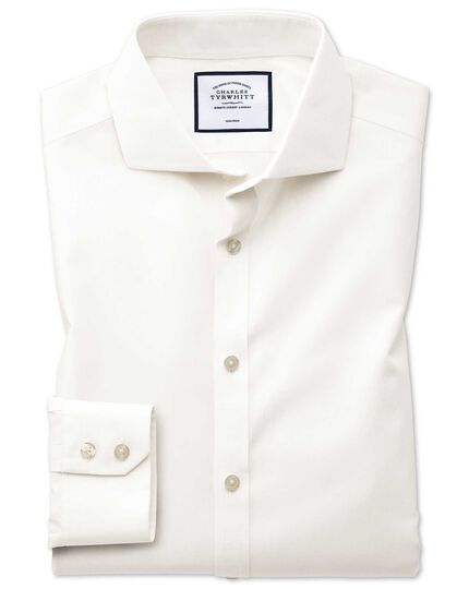 Extra slim fit cutaway collar non-iron poplin cream shirt