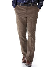 Beige slim fit cord trouser