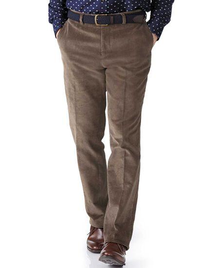 Beige slim fit jumbo cord trouser