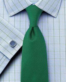 Slim fit non-iron Kensington check green shirt