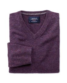 Purple Donegal v-neck jumper