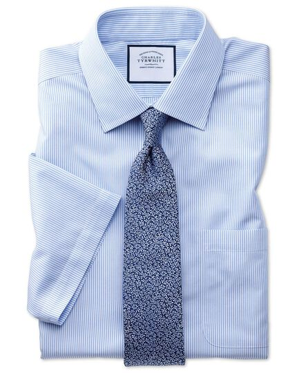 Slim fit non-iron short sleeve bengal stripe sky blue shirt