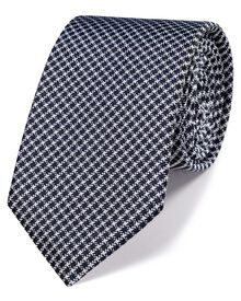 Navy silk classic grid check tie