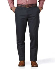Charcoal slim fit flat front chinos