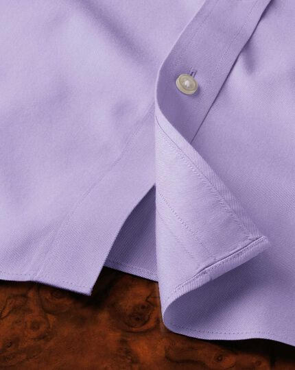 Slim fit non-iron twill lilac shirt