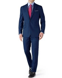 Blue slim fit basketweave business suit