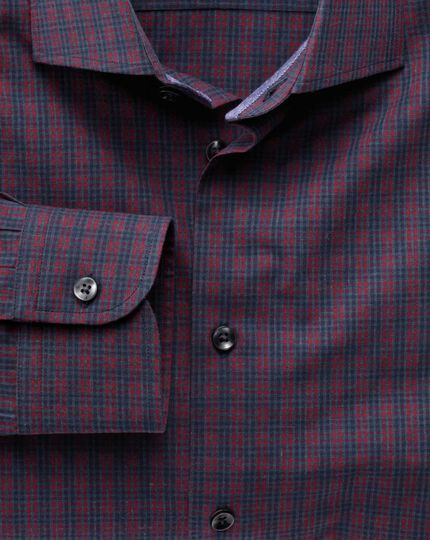 Slim fit semi-spread collar business casual melange red and navy check shirt
