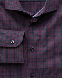 Extra slim fit semi-spread collar business casual melange red and navy check shirt