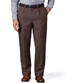 Dark brown classic fit single pleat non-iron chinos