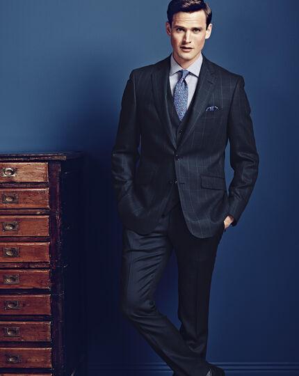 Mid blue slim fit windowpane travel suit pants