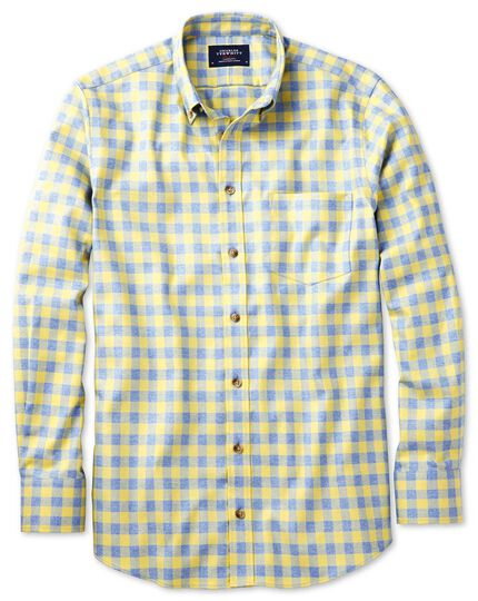 Slim fit non-iron gingham yellow and sky blue shirt