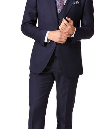 Navy slim fit twill business suit