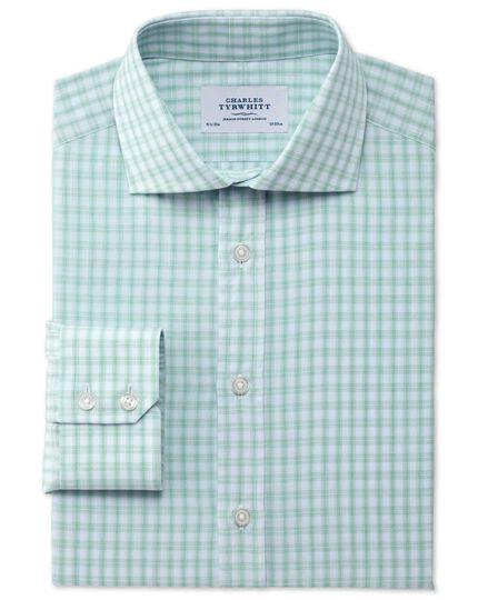 Slim fit cutaway collar Egyptian cotton compact check green shirt