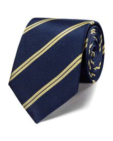 Navy and lemon silk classic double stripe tie
