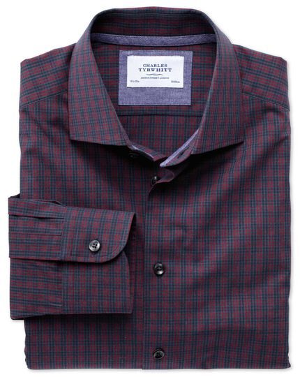 Classic fit semi-cutaway collar business casual melange red and navy check shirt