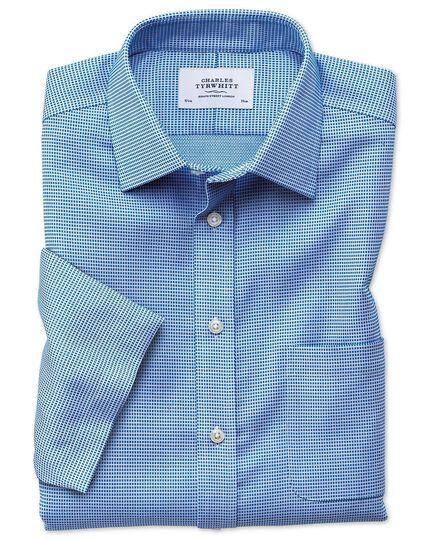 Bügelfreies Slim Fit Kurzarmhemd in Blau mit Strukturen