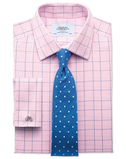 Slim fit non-iron Prince of Wales check pink and blue shirt