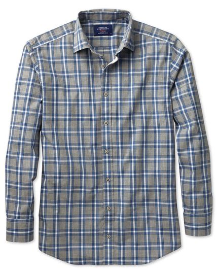 Slim fit grey and sky blue check heather shirt