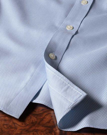 Bügelfreies Extra Slim Fit Hemd in Himmelblau mit Waffelmuster