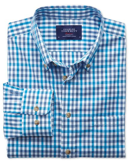 Extra slim fit non-iron poplin turquoise check shirt