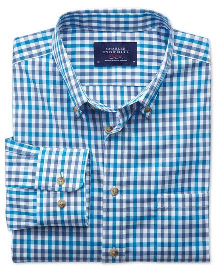 Slim fit non-iron poplin turquoise check shirt