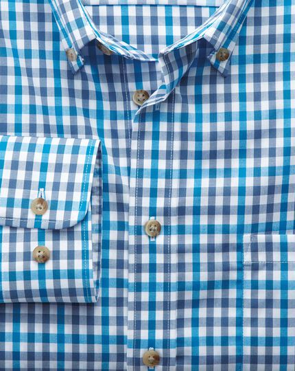 Slim fit non-iron poplin turquoise check shirt