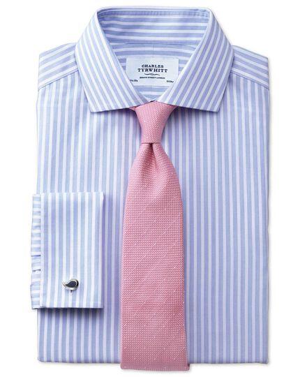 Slim fit spread collar non iron stripe white and sky blue shirt