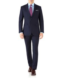 Navy slim fit peak lapel twill business suit