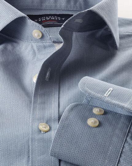 Slim fit navy mini circle print shirt