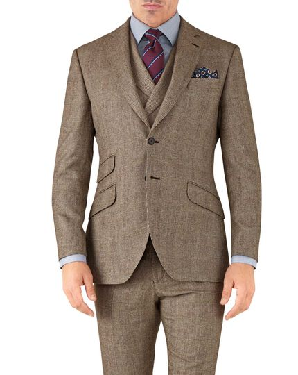 Tan check slim fit British serge luxury suit jacket