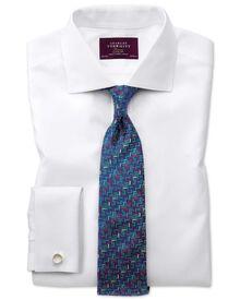 Extra slim fit semi-spread collar luxury white shirt
