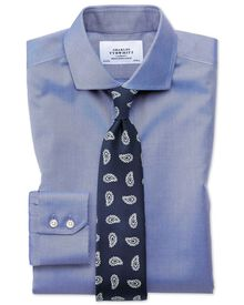 Extra slim fit cutaway collar non-iron twill mid blue shirt